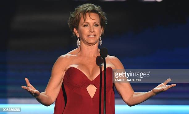 President Gabrielle Carteris speaks onstage during the 24th Annual Screen Actors Guild Awards show at The Shrine Auditorium on January 21 2018 in Los...