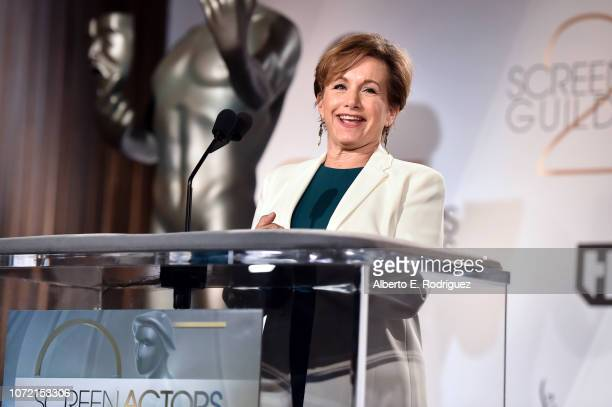 President Gabrielle Carteris speaks onstage during the 25th Annual Screen Actors Guild Awards Nominations Announcement at Pacific Design Center on...