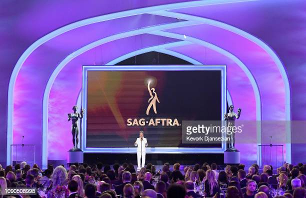 President Gabrielle Carteris speaks onstage during the 25th Annual Screen Actors Guild Awards at The Shrine Auditorium on January 27 2019 in Los...