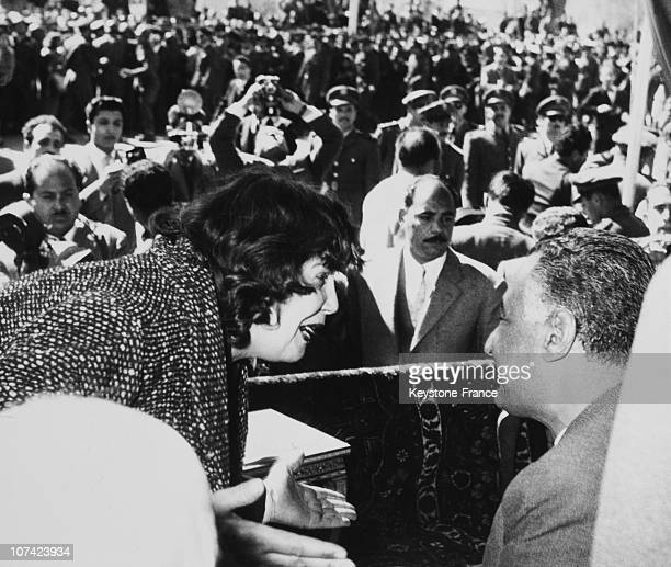 President Gamal Abdel Nasser Hearing To A Syrian Lady Complain At Damascus In Syria