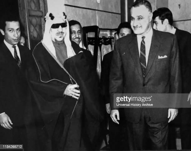 President Gamal Nasser of Egypt with Saud bin Abdul-Aziz Al Saud . King of Saudi Arabia from 1953 to 1964.