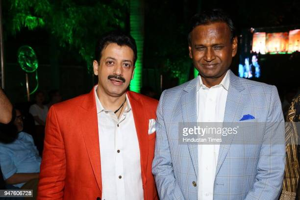 President Gaurav Grover and BJP MP Udit Raj during the Fashion Show to promote Ahimsa Silk and Khadi on April 1 2018 in New Delhi India