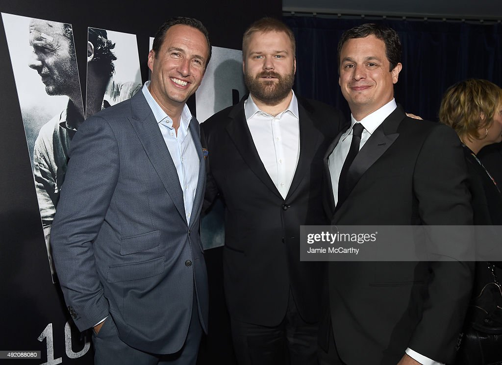 President General Manager AMC and Sundance TV Charlie Collie, Robert Kirkman and David Alpert attend AMC's 'The Walking Dead' Season 6 Fan Premiere Event 2015 at Madison Square Garden on October 9, 2015 in New York City.