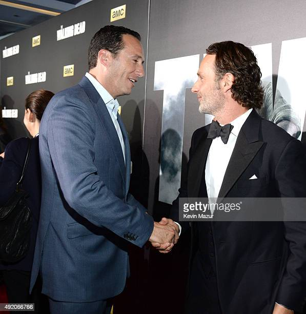 """President General Manager AMC and Sundance TV Charlie Collier and Andrew Lincoln attend AMC's """"The Walking Dead"""" season 6 fan premiere event at..."""