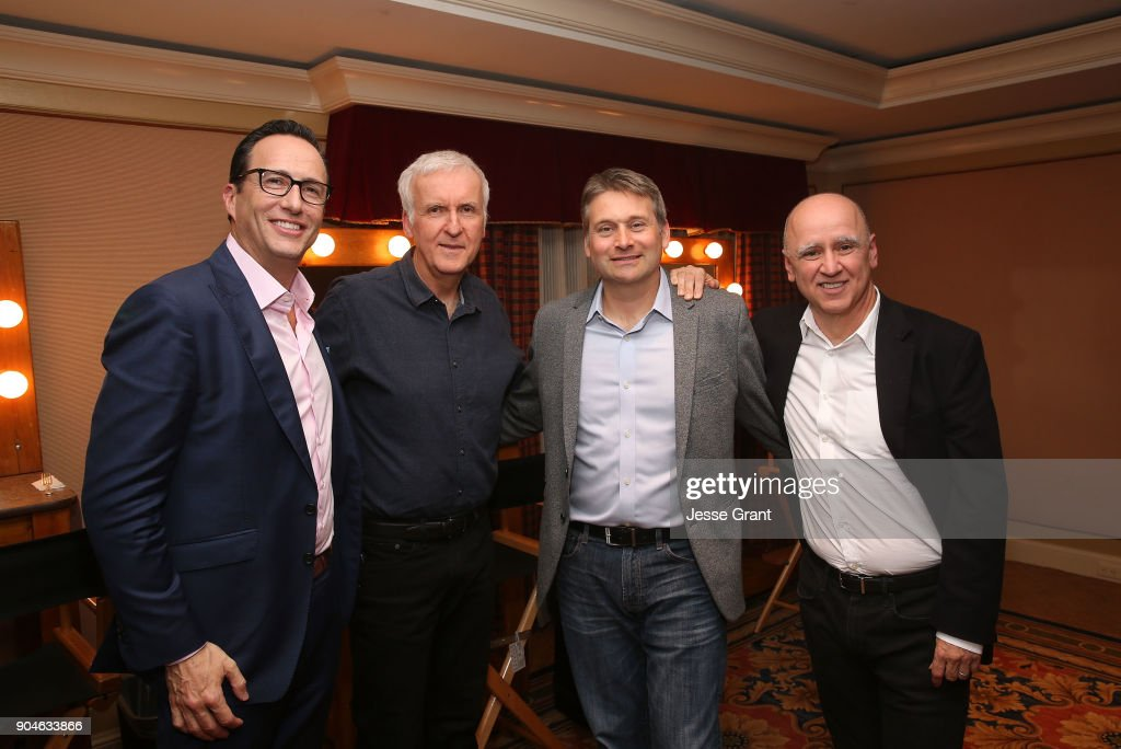 President & general manager AMC, SundanceTV & AMC Studios Charlie Collier, director James Cameron, senior vice president of unscripted programming at AMC Eliot Goldberg and president of original programming for AMC David Madden pose for a photo in the green room during the AMC portion of the 2018 Winter Television Critics Association Press Tour on January 13, 2018 in Pasadena, California.