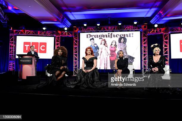 President General Manager TLC Discovery Life Channel Howard Lee BeBe Zahara Benet Alexis Michelle Jujubee and Thorgy Thor of 'Dragnificent' speak...