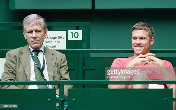 President Georg von Waldenfels and tennis player Alexander Waske watch the match between Florian Mayer of Germany and Michael Kohlmann of Germany...
