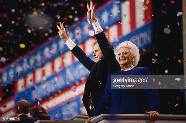 President George Bush and First Lady Barbara attend the 1992 Republican National Convention in Houston Texas Bush the GOP nominee for president lost...