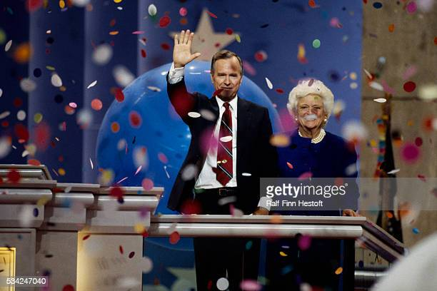 President George Bush and First Lady Barbara Bush at the Republican National Convention He has just accepted his party's nomination to run for...