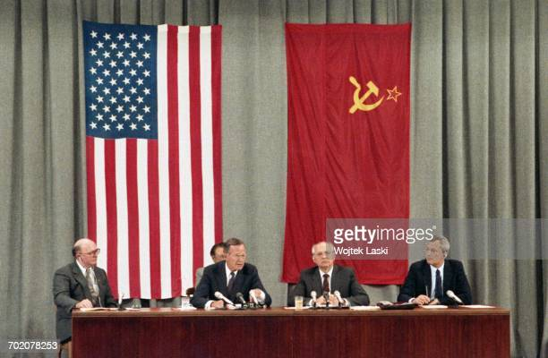 President George Bush and President of the Soviet Union Mikhail Gorbachev during a press conference in Moscow Russia on 31st July 1991