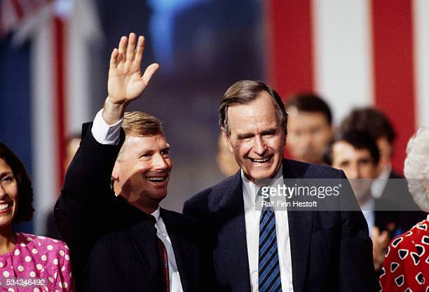 President George Bush and Vice President Dan Quayle open the 1992 Republican Convention in Houston Beside them are their wives Marilyn and Barbara