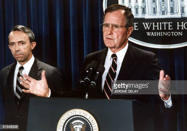 President George Bush announces 23 July 1990 his nomination New Hampshire appellate judge David Souter for the Supreme Court at the White House...