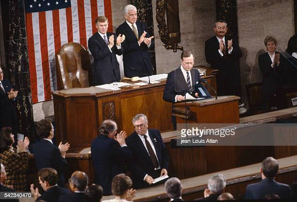 President George Bush announces to Congress that American troops are to be sent to Iraq in the lead up to the 1991 Gulf War