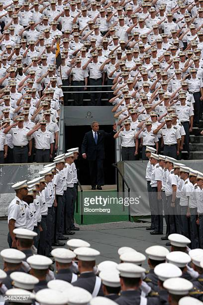 President George Bush arrives at Michie Stadium before he delivers the commencement address to the 2006 graduating class of West Point Military...