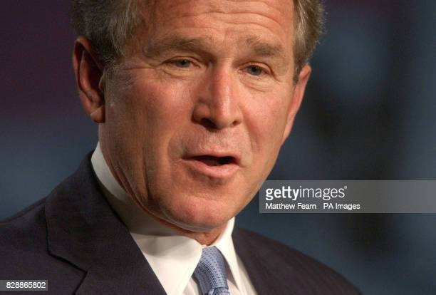 President George Bush during his address in London's Banqueting House as he declared that the British and American peoples were united in an...