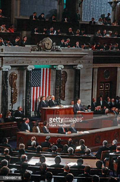 President George H.W. Bush delivers his Address Before a Joint Session of the Congress on the Cessation of the Persian Gulf Conflict, to a standing...