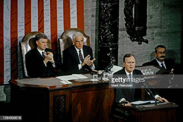 President George H.W. Bush delivers his address Before a Joint Session of the Congress on the State of the Union,Vice President Daniel Quayle and...