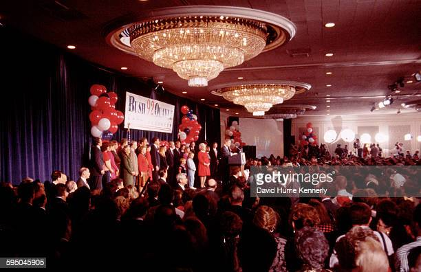 President George H.W. Bush delivers his concession speech on election night November 3, 1992 in Houston, Texas. The President addressed his...