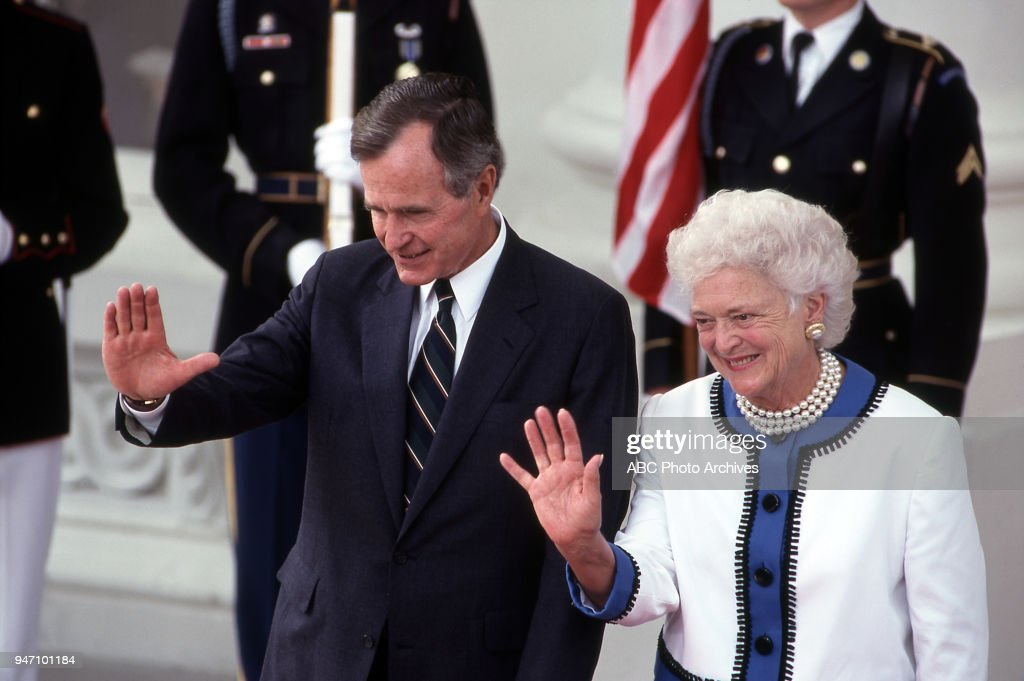President George HW Bush, First Lady Barbara Bush At Bush/Gorbachev Summit : News Photo