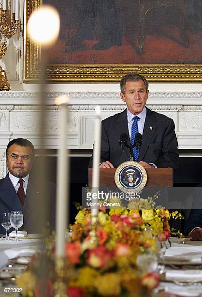 President George W Bush addresses a gathering of ambassadors from Islamic countries during an 'Iftar' hosted by the President at the White House...