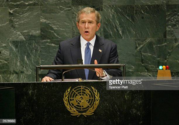 President George W. Bush addresses General Assembly September 23, 2003 at the UN in New York City. While asking for United Nations assistance in...