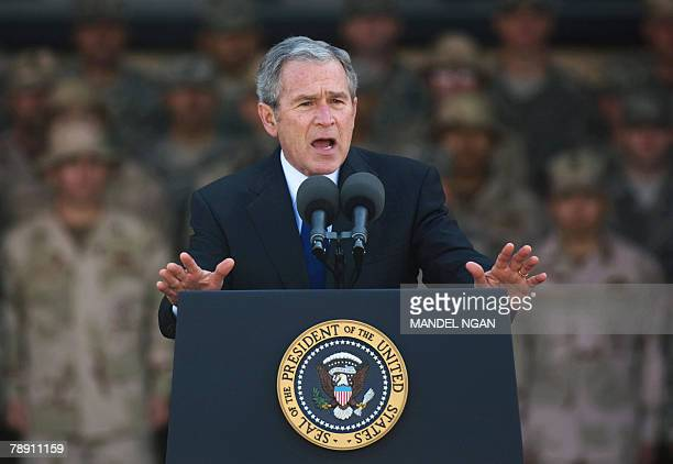 US President George W Bush addresses military personnel and coalition forces at US Camp Arifjan 60 kms south of Kuwait City 12 January 2008 Bush met...