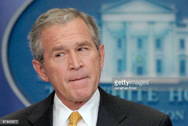 S President George W Bush addresses reporters during a press conference in the briefing room at the White House July 15 2008 in Washington DC Bush...