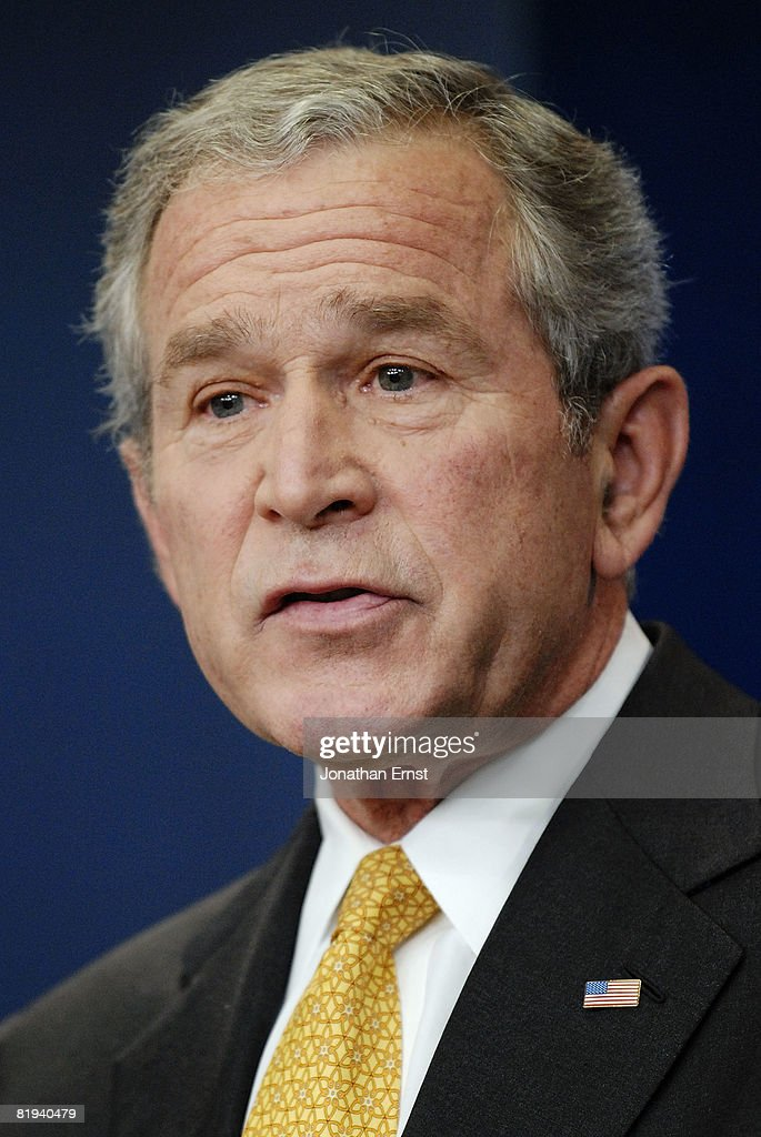 U.S. President George W. Bush addresses reporters during a press conference in the briefing room at the White House July 15, 2008 in Washington, DC. Bush addressed oil prices and energy policy, the wars in Iraq and Afghanistan and the economy, among other topics.