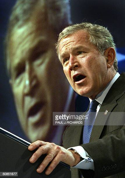 President George W Bush addresses the American Israel Public Affairs Committee 18 May 2004 at the Washington Convention Center in WashingtonDC saying...