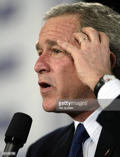 President George W Bush addresses the Pensacola Junior College on Social Security 18 March 2005 in Pensacola Florida Bush who has been struggling to...