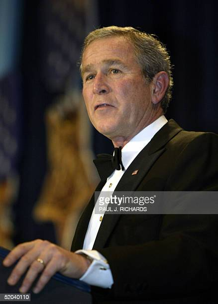President George W Bush addresses the Salute to Heroes Inaugural Ball 20 January 2005 in Washington DC Bush reached out to US allies and Americans...