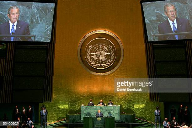 S President George W Bush addresses the United Nations General Assembly as United Nations Secretary General Kofi Annan Prime Minister of Sweden and...
