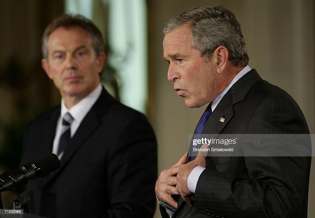 George Bush And Tony Blair Meet At White House : News Photo