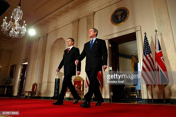 President George W. Bush and British Prime Minister Tony Blair hold a joint press conference at the White House. President Bush said the United...