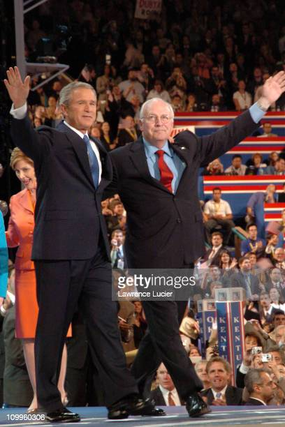 President George W Bush and Dick Cheney during 2004 Republican National Convention Day 4 Inside at Madison Square Garden in New York City New York...