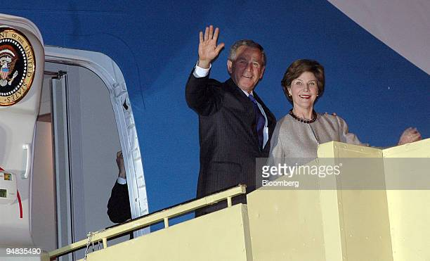 President, George W. Bush and First Lady, Laura Bush arrive at the Indian Air Force Station in New Delhi, India on Wednesday, March 1, 2006. Bush...