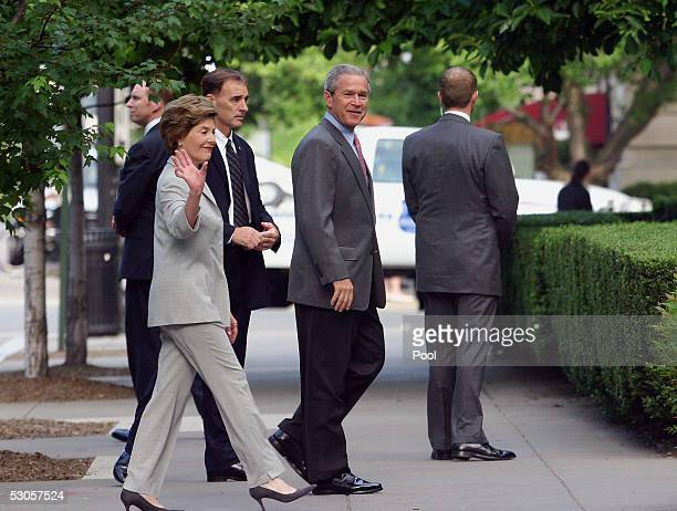 S President George W Bush and first lady Laura Bush attend Sunday services at St John's Church June 12 2005 in Washington DC