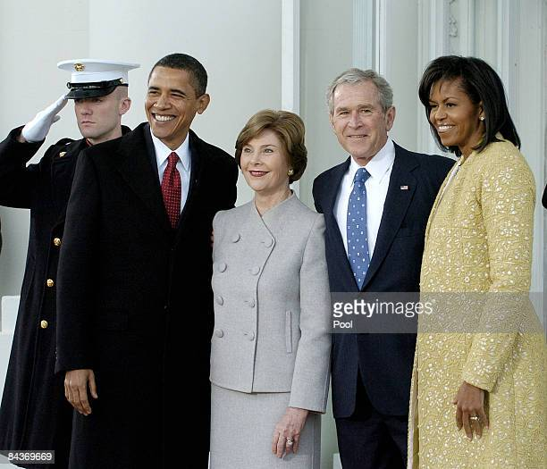 President George W. Bush and First Lady Laura Bush , pose with President-elect Barack Obama and Michelle Obama as they at the White House in the...