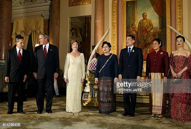 US President George W Bush and First Lady Laura Bush stand in the receiving line prior to dinner with their hosts King Bhumibol Queen Sirikit Crown...