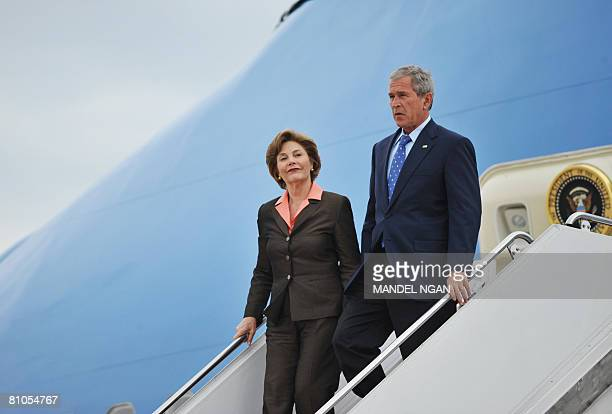 US President George W Bush and First Lady Laura Bush step off Air Force One May 11 2008 upon arrival at Andrews Air Force Base in Maryland Bush and...