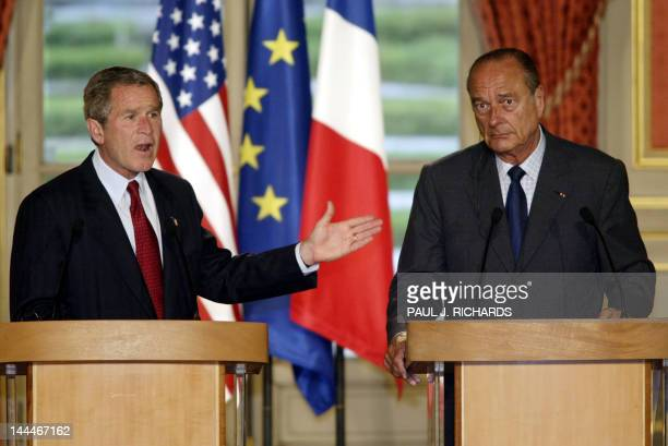 President George W. Bush and French President Jacques Chirac conduct a joint presse conference after their meeting at the presidential Elysee Palace...