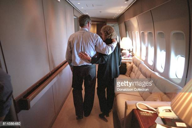 President George W. Bush and Harriet Miers Tuesday, Sept. 11 aboard Air Force One. Photo by Eric Draper, Courtesy of the George W. Bush Presidential...