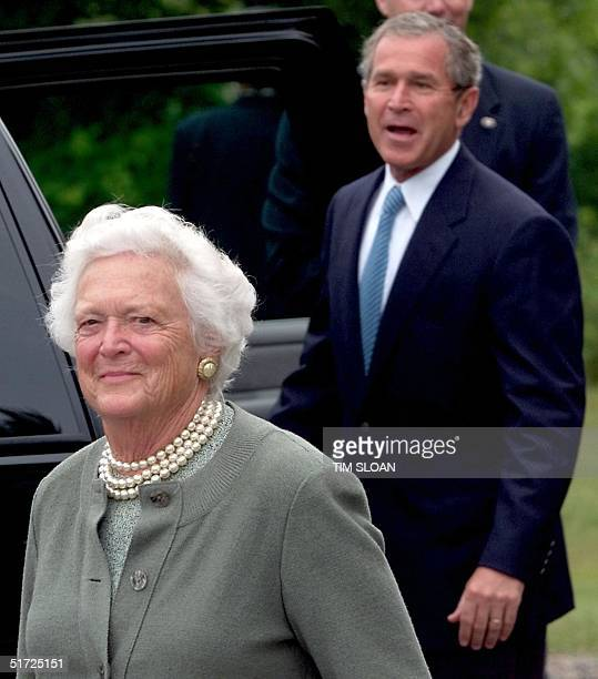 President George W Bush and his mother and former First Lady Barbara Bush walk to their respective limos after attending morning services at St Anns...