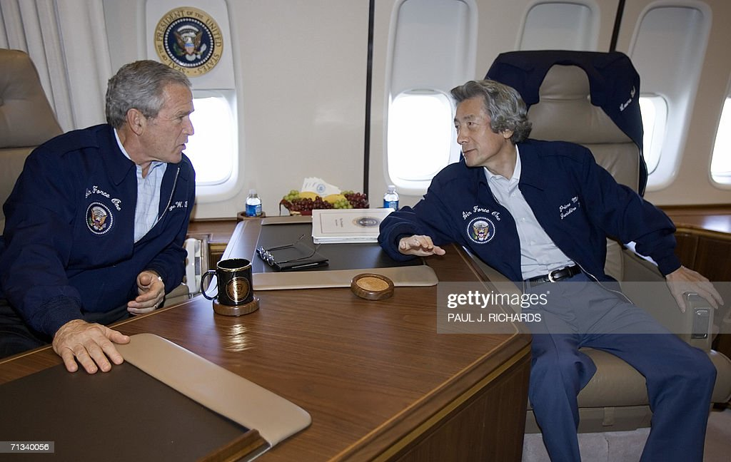air force one office. US President George W. Bush And Japanese Prime Minister Junichiro Koizumi Meet Inside The President\u0027s Air Force One Office E