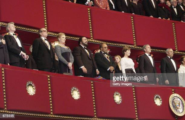 S President George W Bush and Laura Bush attend the Kennedy Center Honors December 2 2001 in Washington DC The honorees are pianist Van Cliburn actor...