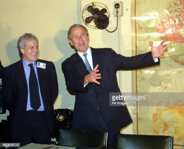 President George W. Bush and Philip Reed , Curator of the Winston Churchill's Cabinet War Rooms in London, during the President's visit to the Rooms....