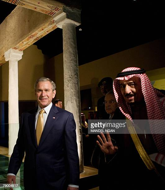 US President George W Bush and Prince Salman the brother of the Saudi king and Governor of Riyadh tour the Murabba Palace and National History...