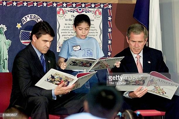 President George W Bush and Texas Governor Rick Perry listen while schoolgirl Nancy Jara reads from US second lady Lynne Cheney's new children's book...