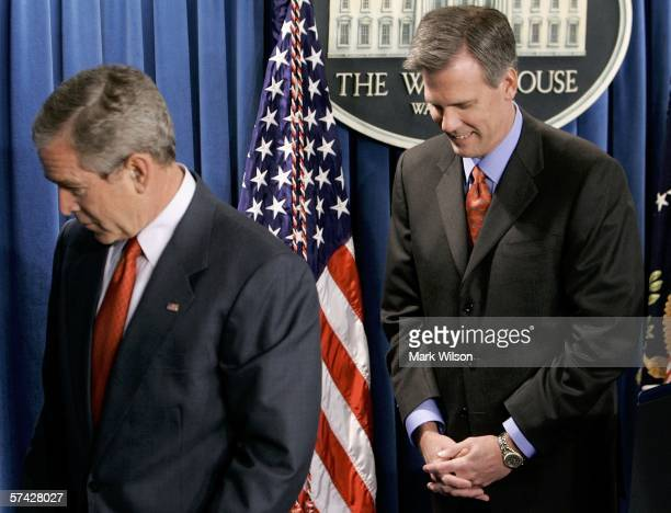 President George W. Bush and Tony Snow walk away after it was announced that Snow will be the new White House Press Secretary April 26, 2006 in...