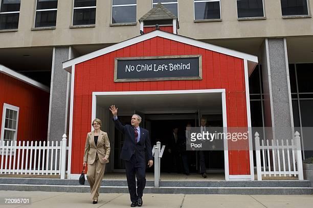 S President George W Bush and US Secretary of Education Margaret Spellings walk out of the Friendship Public Charter School's Woodridge Elementary...